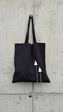Nákupné tašky - Taška čierna stromčeky - 12484104_