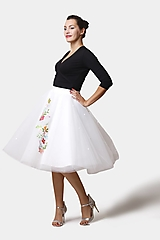 Sukne - Tylová sukňa biela vyšívaná - 12490591_