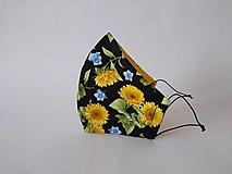 Rúška - Dizajnové rúško slnečnice tvarované dvojvrstvové (Dámske) - 12491251_