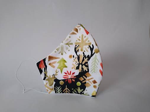 Dizajnové rúško jeleň vianočný prémiová bavlna antibakteriálne s časticami striebra dvojvrstvové tvarované