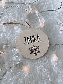 Dekorácie - Vianočná ozdoba s menom vločka - 12491043_