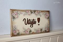 Tabuľky - Vitajte ❣ - vintage ruže - tabuľka - 12489637_