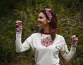 Mikiny - MIKINA Cream Ornament Red - 12489812_