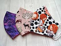 Rúška - Bavlnené rúška... dámske  (Lesné zvieratká na staroružovej) - 12498314_