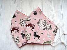 Rúška - Bavlnené rúška... dámske  (Lesné zvieratká na staroružovej) - 12498324_
