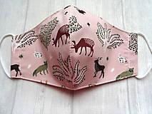 Rúška - Bavlnené rúška... dámske  (Lesné zvieratká na staroružovej) - 12498327_