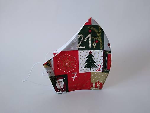 Dizajnové rúško vianočné dni tvarované dvojvrstvové