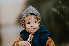 Detské čiapky - Vlnená pixie čiapka  - 12499476_