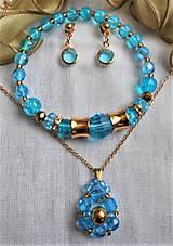 Sady šperkov - Blankytný krištáľ  - chirurgická oceľ - 12496632_