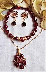 Sady šperkov - Karmínový krištáľ - 12496744_