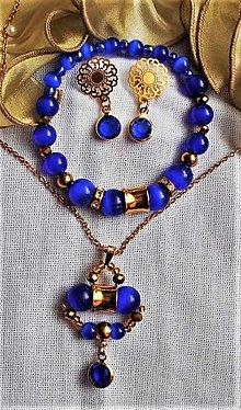 Sady šperkov - Mačacie oko- chirurgická oceľ- modrá - 12496553_