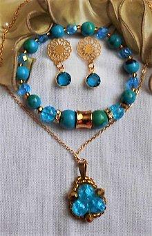 Sady šperkov - Azúrový chryzokol- chirurgická oceľ - 12496818_