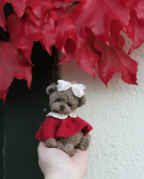 Mini medvedica v červených šatách