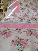 Úžitkový textil - POSTEĽNÉ OBLIEČKY ružový vtáčik - 12499414_