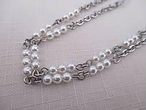 Iné šperky - Retiazka na okuliare - biele perly - chirurgciká oceľ - 12495556_