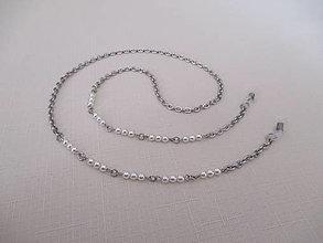 Iné šperky - Retiazka na okuliare - biele perly - chirurgciká oceľ - 12495510_
