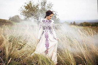 Šaty - béžové dlhé šaty Slavianka - 12495430_