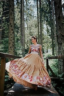 Šaty - hnedé vyšívané šaty Sága krásy - 12495447_