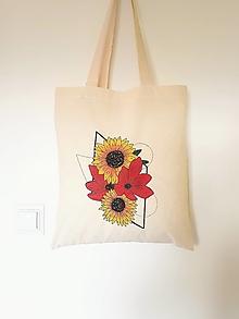 Nákupné tašky - •ručne maľovaná plátená taška - Slnečnice a mak• - 12495348_