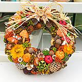 Dekorácie - Bohatý venček jesenné farby - 12497903_