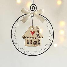 Dekorácie - vianočná dekorácia domček (krémová) - 12501499_