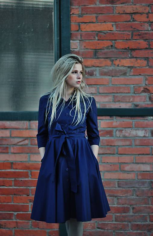 Šaty - Košilové šaty SARA, indigo modrá - 12501013_