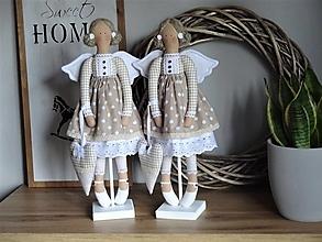 Bábiky - Hnedý anjel so srdiečkom - 12500718_