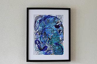 Obrazy - bordel v hlave . akvarel, fixa a pastelky . A3 - 12502166_