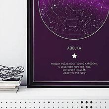 Grafika - MLIEČNA DRÁHA, hviezdna obloha, purpurová - 12500477_