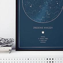Grafika - MLIEČNA DRÁHA, hviezdna obloha, modrá (PDF verzia 40x50cm) - 12500682_