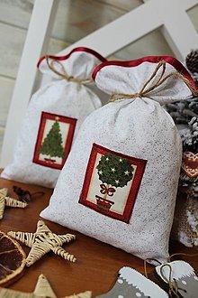 Úžitkový textil - Darčekové vianočné vrecúško - 12503861_