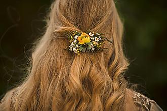 """Ozdoby do vlasov - Kvetinová spona """"pohladenie slnka"""" - 12503502_"""