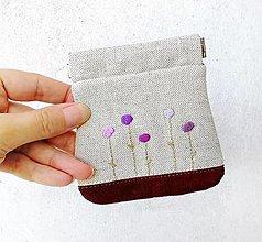 Peňaženky - Peňaženka mincovka Fialové kvietky - 12501503_