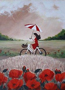 Obrazy - dievča na bicykli - 12502574_