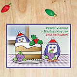 Papiernictvo - Vianočná pohľadnica - tučniaci (čučoriedková torta) - 12501906_