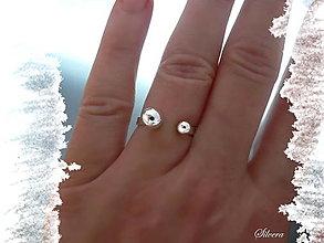 Prstene - Strieborný 925 prsten Duetko III - 12508345_
