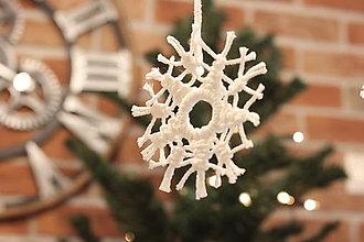 Dekorácie - Pavučinová snehová vianočná vločka makramé - 12507293_
