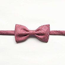 Doplnky - Motýlik ružový vzorovaný - 12506753_