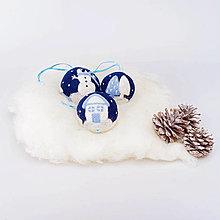 Dekorácie - Modré vianočné gule - sada - 12508110_