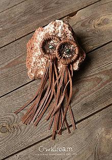 Náušnice - Nášnice z prírodnej kože •lapač snov• - 12507741_