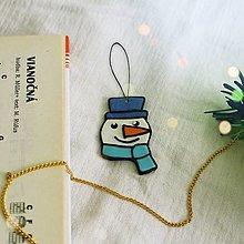 Dekorácie - ★ Vianočná ozdoba cartoon - hlava snehuliaka - 12508303_