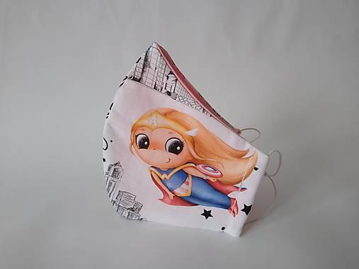 Dizajnové rúško super dievča výberová bavlna dvojvrstvové tvarované