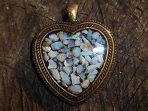 Náhrdelníky - Big heart gold -opals-opál-srdce - 12514031_