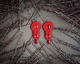 Náušnice - Červená Viera - soutache earring - ručne šité šujtášové náušnice - 12511363_