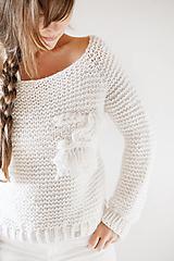 Svetre/Pulóvre - Ručne pletený hrubý vlnený sveter s tkanou WALLART aplikáciou (Sveter - oversized (dlžka 70cm, šírka 60cm)) - 12513937_
