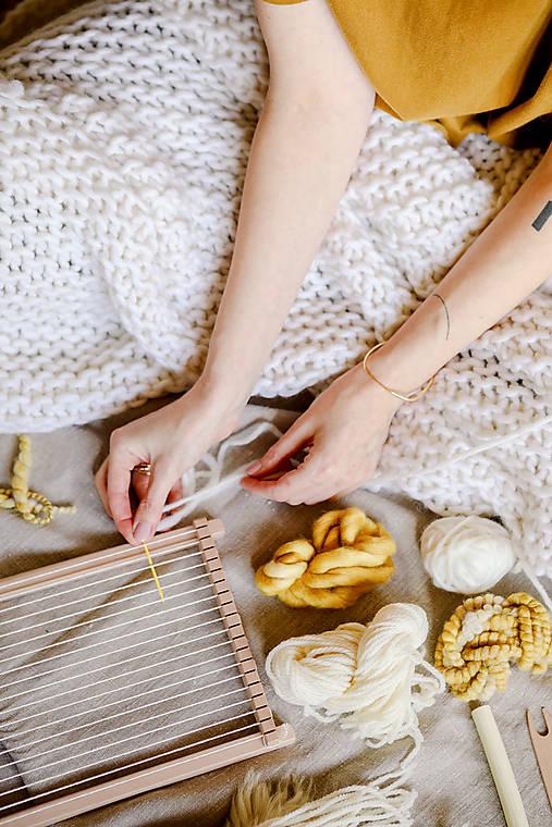 Úžitkový textil - Hrubá hrejivá pletená vlnená deka 100x160cm - prírodná vlna, hodváb, alpaka - 12511381_