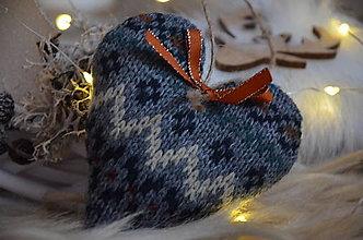 Dekorácie - Vianočné srdiečko (Šedá) - 12511459_