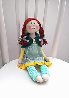 Hračky - Vierka, bábika v mentolovo - žltých šatách - 12509965_