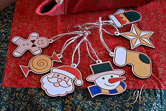 Dekorácie - Set vianočné ozdoby postavičky maľované - 12511400_