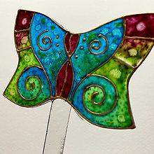 Dekorácie - Zápich do kvetináča - Motýlik zelenomodrý - 12513836_